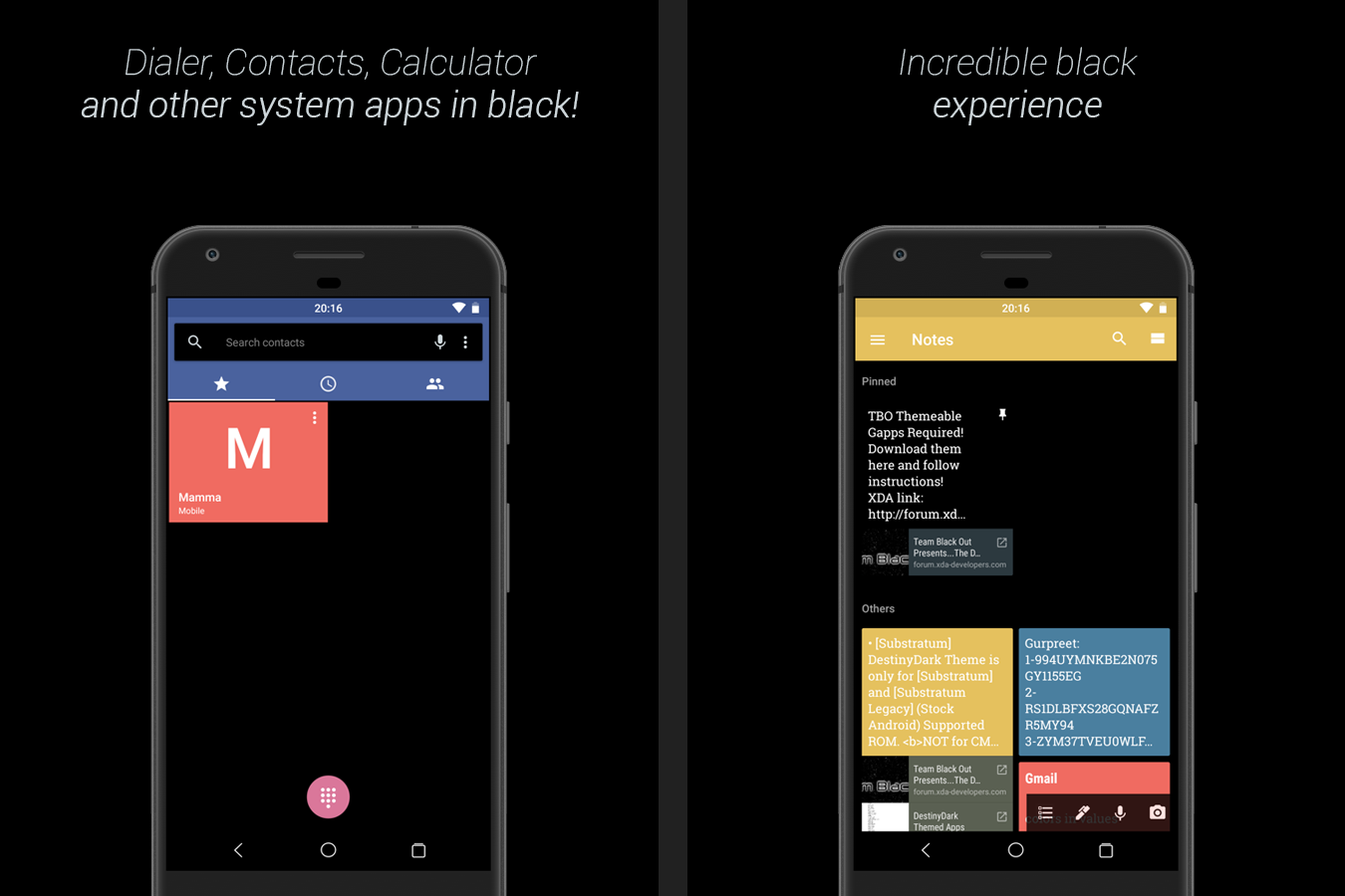Gmail mobile theme - Substratum Destinyblack Theme Screenshot