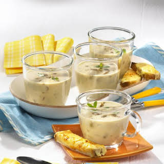Porcini Mushroom Soup with Cheese Toasts.