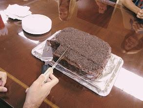 Photo: Nikos' CHOCOLATE birthday cake at Mercantile Capital Corporation (made by Dawn!)