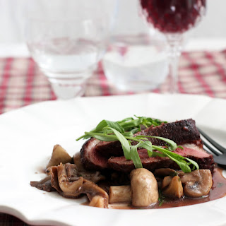 Duck Breast in Red Wine Sauce with Two Mushrooms