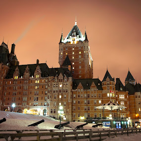 Chateau Frontenac, Quebec City by Maggie B - Buildings & Architecture Public & Historical ( winter, quebec, snow, quebec city, night, light )