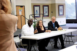 """Photo: Akwasi Asamoah, University of Exeter; Cyndy Parr, USDA; and Daniel Debouk, CIAT, participate on the """"Feeding the 10 Billion"""" panel on Tuesday, Sept. 20, 2016. The panel was chaired by Ann Marie Thro, USDA."""
