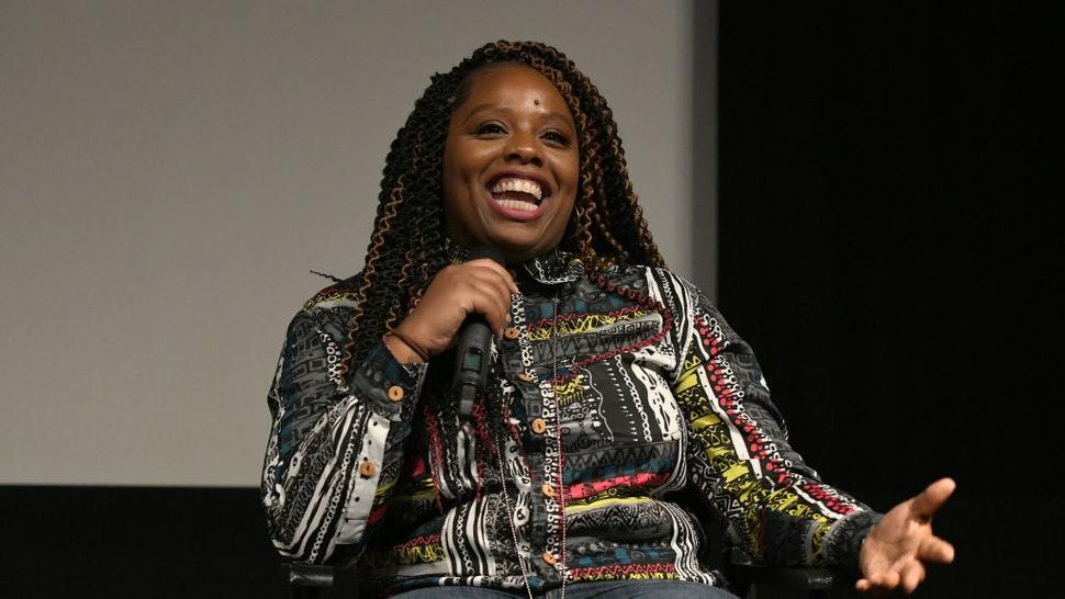 "Patrisse Cullors participates in a panel discussion after the Los Angeles premiere of ""Toni Morrison: The Pieces I Am"" on June 14, 2019 in West Hollywood, California."