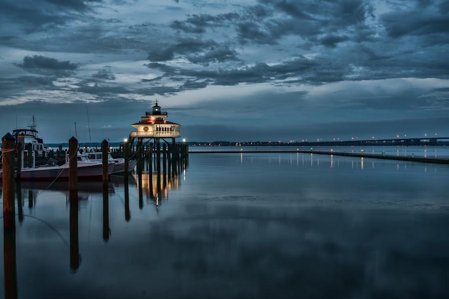MD Lighthouse by John Enterline - Landscapes Waterscapes ( water, lighthouse, maryland, storm, evening )