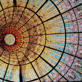 Palau de la Musica Catalana, Barcelona by Catherine Guerenne - Buildings & Architecture Public & Historical ( barcelone, palais de la musique catalane, barcelona, coupole vitrail, palau de la musica catalana,  )