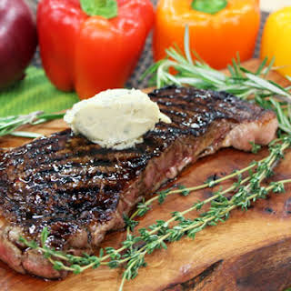 Grilled striploin steak with Boursin cheese sauce.
