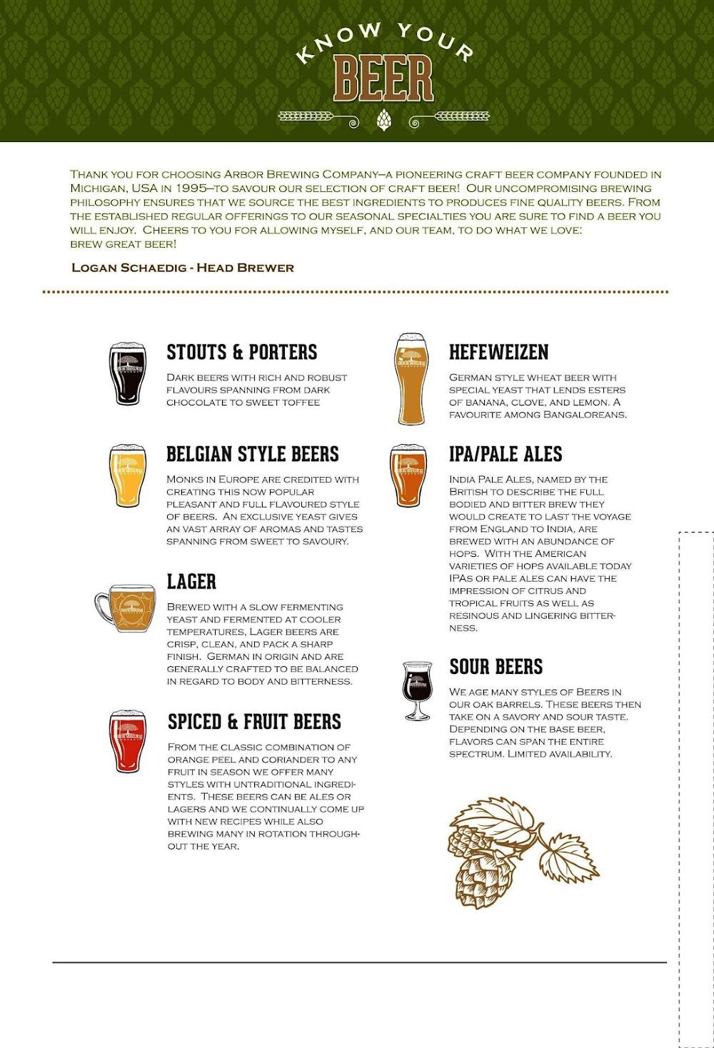 Arbor Brewing Company menu 1