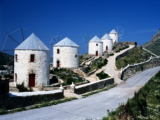 Windmills Overlooking Hora, Dodecanese, Leros