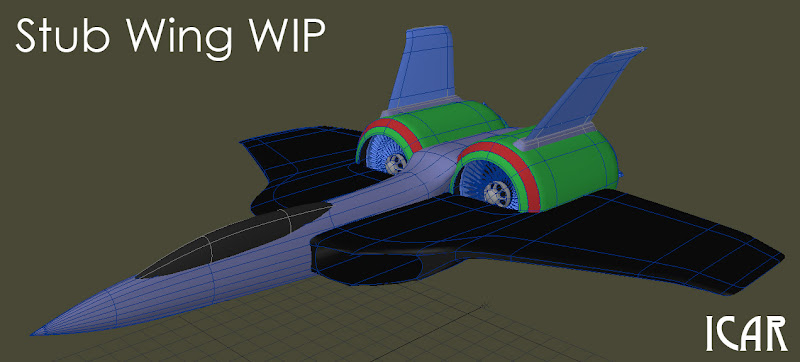 Photo: I sat down this evening to work on an image where a Droid Mk 4 fighter is being chased by a Fleet Stub Wing and I ended up remodelling the Stub Wing. This is slightly embarrassing because I've previously vowed not to remodel it again. However it just wasn't quite right. Here's the work in progress.