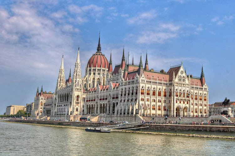 A view of the Parliament building of Budapest from the Danube.