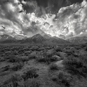 LEAP by Michael Keel - Black & White Landscapes ( bursting sunset, boulders, mt. whitney, lone pine, black and white, snow, rocks )