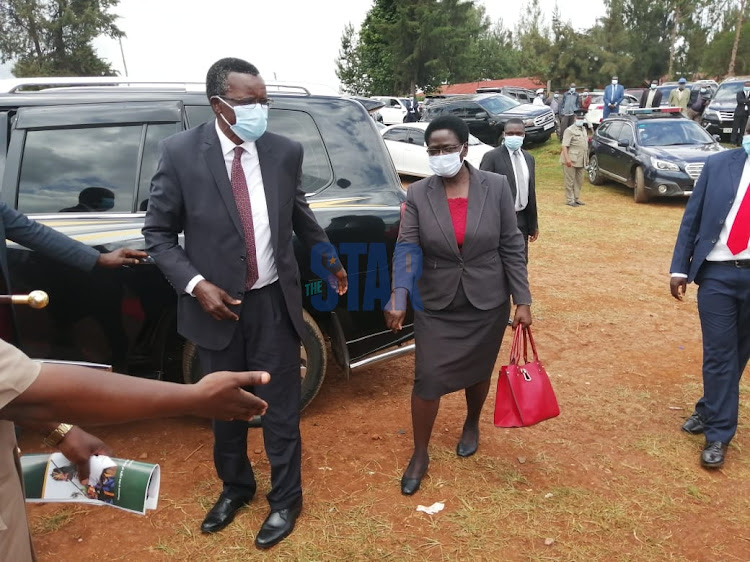 Chief Justice David Maraga when he arrived at the Nyamira Primary School grounds on December 24, 2020.