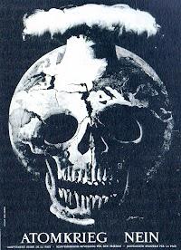 Grafik: Atomexplosion aus Totenschädel «Atomkrieg Nein».