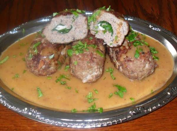 Mini Turkey Meatloaf Stuffed With Goat Cheese And Baby Spinach Served With A White Wine Sauce Recipe