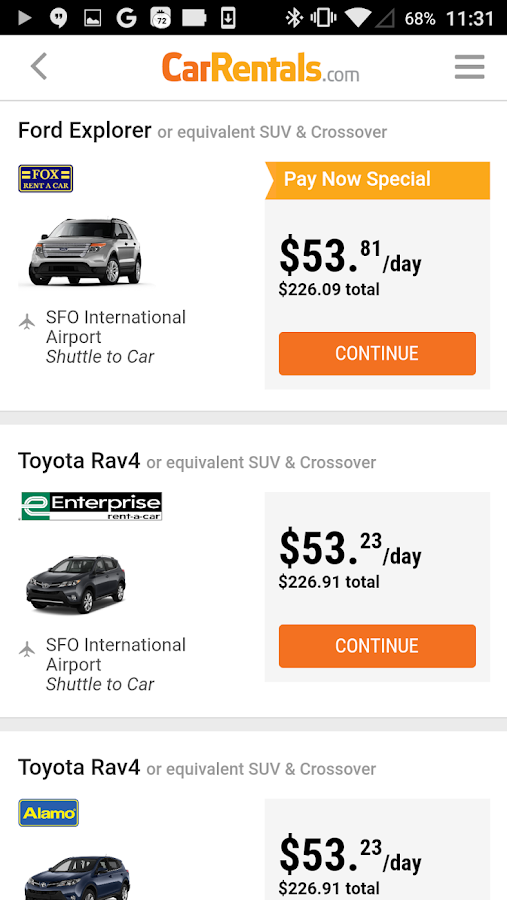 CarRentals- screenshot