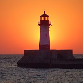North Pier Sunrise by Alison Gimpel - Landscapes Sunsets & Sunrises ( water, minnesota, lighthouses, lakes, lake superior, sunrise, #GARYFONGDRAMATICLIGHT, #WTFBOBDAVIS )