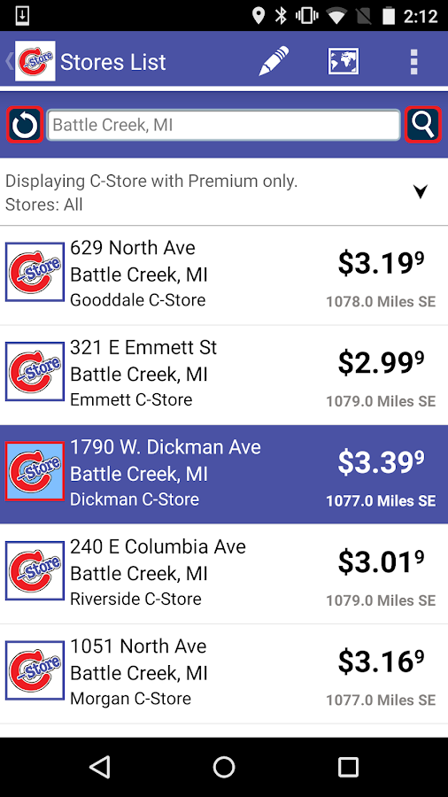 C-Stores App- screenshot