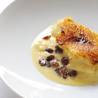 Bread And Butter Pudding With Chocolate Sorbet.