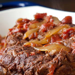 Spiced Slow Cooker Pot Roast with Tomatoes.