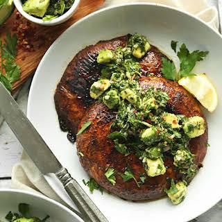 Portobello Steaks with Avocado Chimichurri.