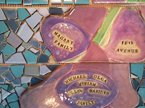 Photo: Saturday, July 20, 2013 Hidden Garden Steps ceramic-tile mosaic preview at St. John of God community hall in San Francisco's Inner Sunset District: Detail of foxglove, on the third flight of stairs from the top of the Hidden Garden Steps. Project artists Aileen Barr and Colette Crutcher completed this as part of the 148-step mosaic to be installed on 16th Avenue, between Kirkham and Lawton streets in San Francisco. For more information about the Hidden Garden Steps project, please visit http://hiddengardensteps.org.