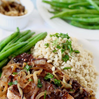 Caramelized Onion Chicken with Raspberry Pan Sauce.