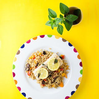 Mahi Mahi with Olive and Bell Pepper Couscous.