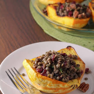 Squash stuffed with Lentils.