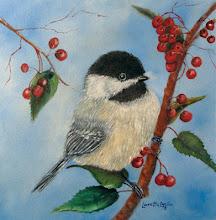 Photo: Black Capped Chickadee and Winterberries by Loretta Luglio