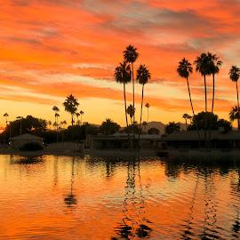 Lakeview Park Sunset by Nancy Young - Landscapes Sunsets & Sunrises ( orange, sky, sunset, lake, colorful )