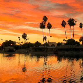 Lakeview Park Sunset by Nancy Young - Landscapes Sunsets & Sunrises ( orange, sky, sunset, lake, colorful )