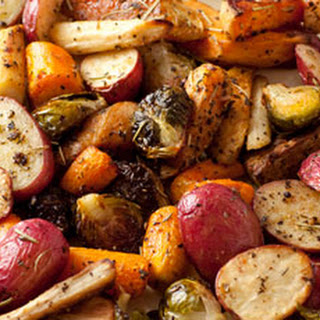 Roasted Potatoes, Carrots, Parsnips and Brussels Sprouts.