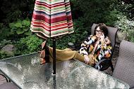 MISSONI Peru jacquard coat and jumpsuit; GUCCI glasses; DAVID YURMAN Continuance bold bracelet, Novella statement necklace in yellow gold with citrine; SANTONI Kendrick midi boot in python