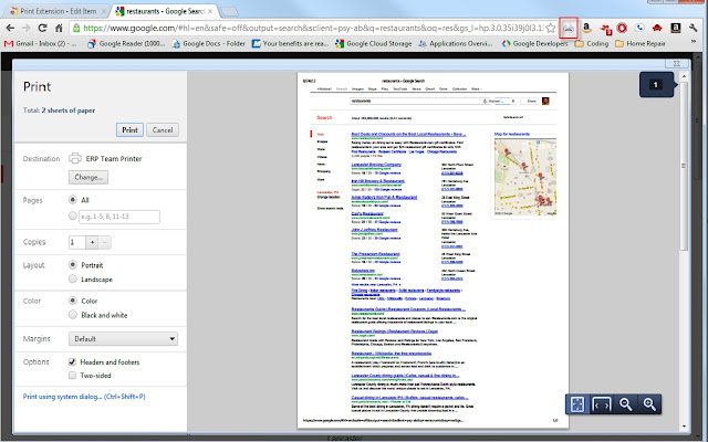 Prints Pages In Chrome
