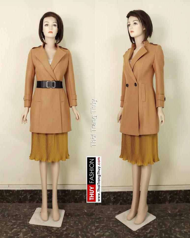 Áo khoác dạ nữ dáng dài cổ vest màu lạc đà V653 thời trang thủy