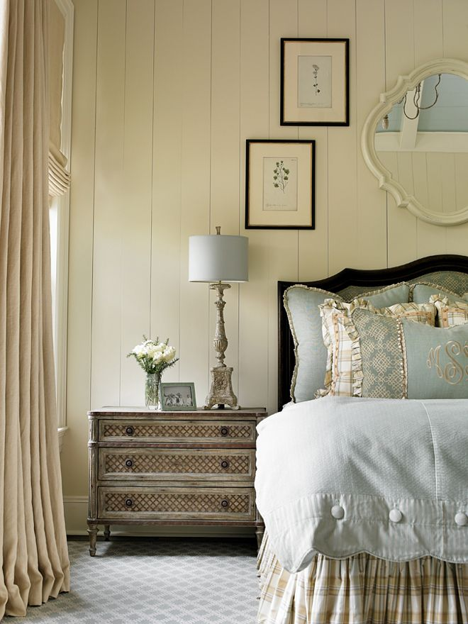 Faded Blue Bedding and Table Lamp