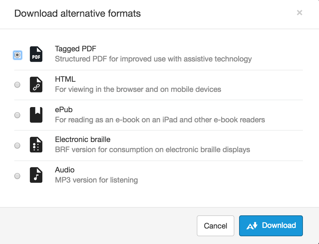 Example of the different alternative format options available