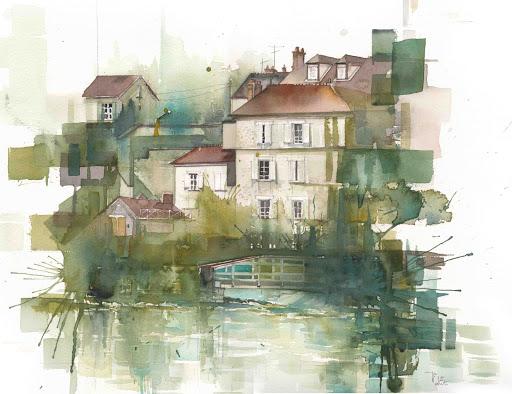 JPAPA_Montigny vue de Loing_aquarelle