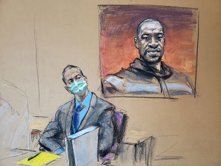 Former Minneapolis police officer Derek Chauvin sits in front of a picture of George Floyd displayed during Chauvin's trial for second-degree murder, third-degree murder and second-degree manslaughter in the death of Floyd in Minneapolis, Minnesota, US, March 29, 2021 in this courtroom sketch from a video feed of the proceedings.