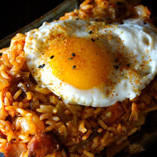 Kimchi-Bacon Fried Rice and Eggs.