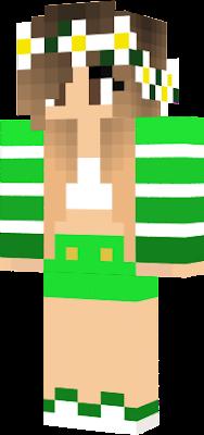 Zelená holka s mini sukní