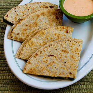 Baby Kale and Mozzarella Quesadillas with Sriracha-Ranch Dipping Sauce.