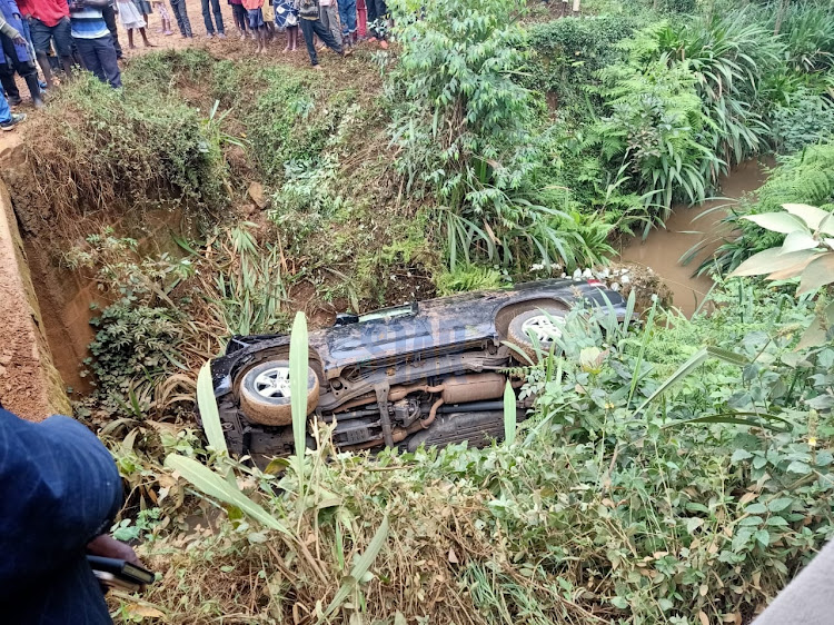 The vehicle which plunged into Gucha River on August 21, 2020.