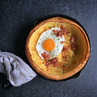 Dutch Baby Pancake with Gouda, Crispy Bacon & a Fried Egg
