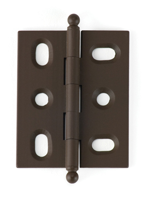 Photo: BH2A-OA-BALL for mortised inset cabinet doors in Old Antique (oil-rubbed bronze) finish