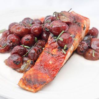 Seared Paprika Salmon with Rosemary Grapes.