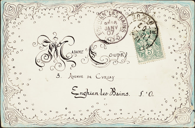 <p> <strong>L&eacute;on Coupey<br /> To Madame Coupey (Enghien-les-Bains)</strong><br /> Ink on card<br /> 3 &frac12;&quot; x 5 &frac12;&quot;<br /> 1907</p> <p> Collection Pierre Coupey, Vancouver<br /> Set 2.7</p>