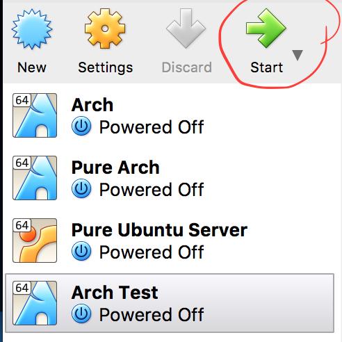 Start Arch VM