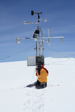Photo: Downloading data from the UMass AWS on the Northern Ice Field