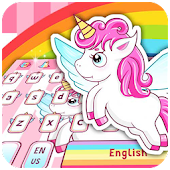 Pink cartoon cute unicorn keyboard